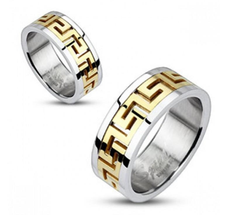 Мужское кольцо из стали цвет платина со вставками цвет золото узор меандр. Могут быть использованы как парные кольца