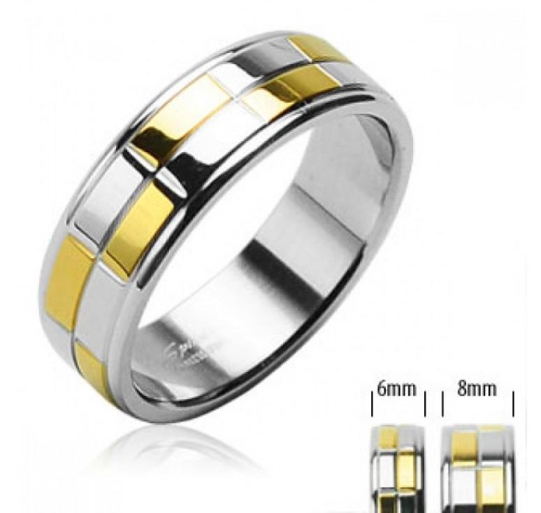 Мужское кольцо из стали цвет платина и золото, из ячеек в шахматном порядке