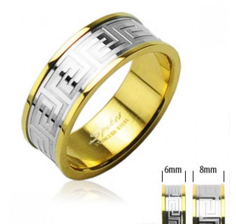 Мужское кольцо из стали цвет золото с узором меандр цвет серебро