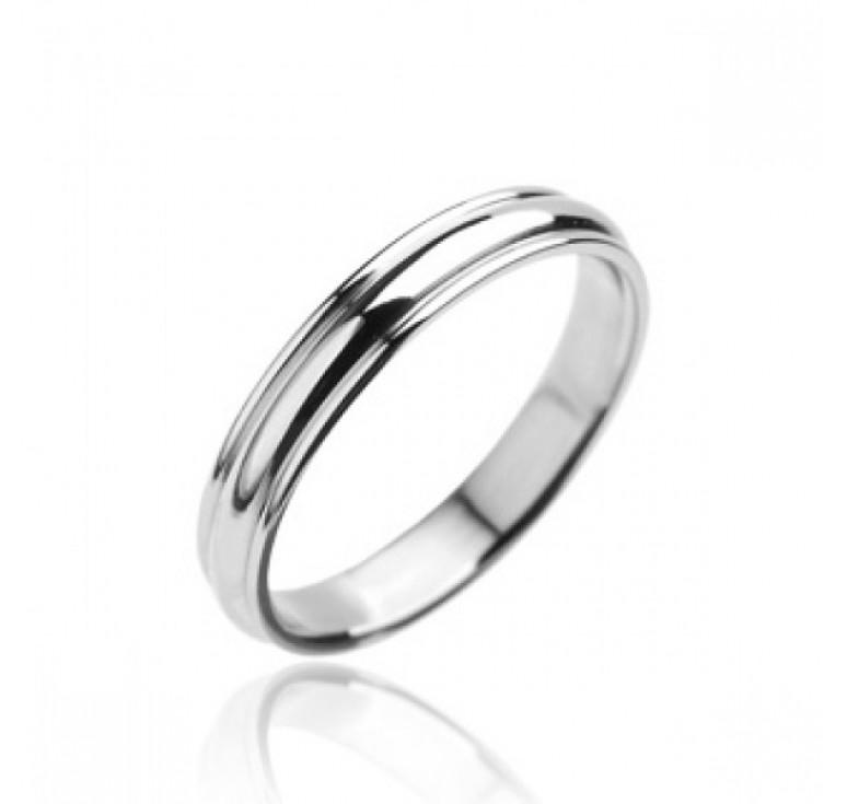 Мужское тонкое кольцо из стали цвет платина