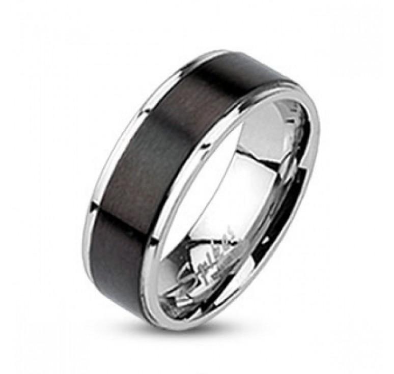Мужское кольцо из стали цвет платина с широкой полосой черного цвета по диаметру