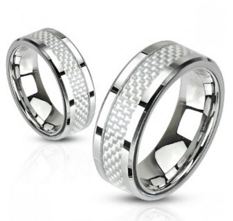 Мужское кольцо из стали цвет платина со вставкой из карбона цвет белый. Могут быть использованы как парные кольца
