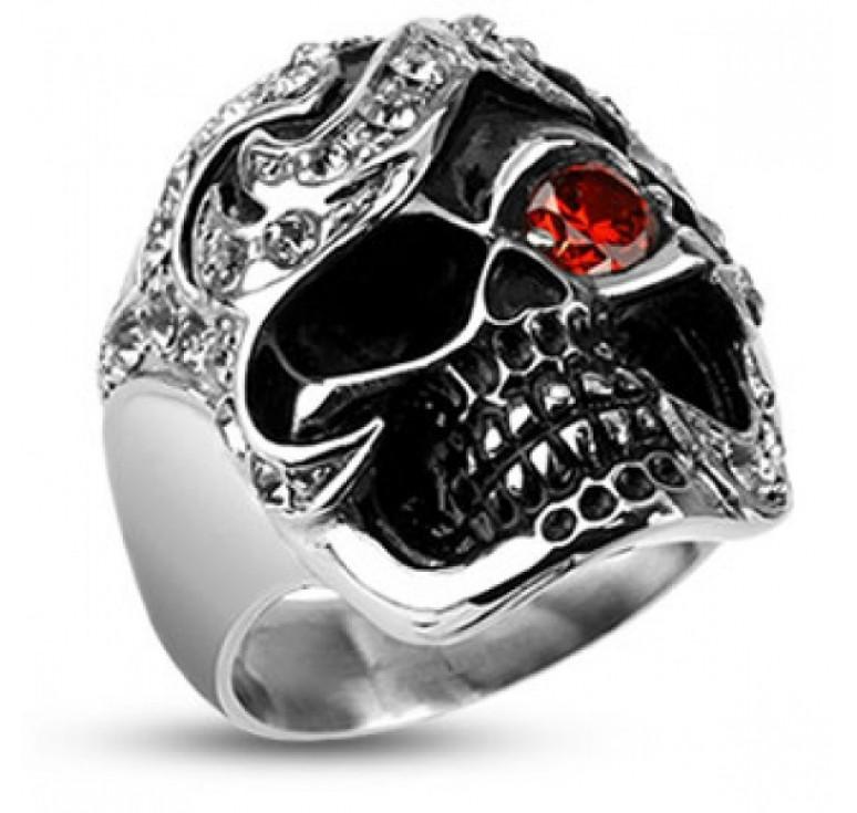 Мужское кольцо из стали в виде черепа со вставками из фианитов цвет белый и красный