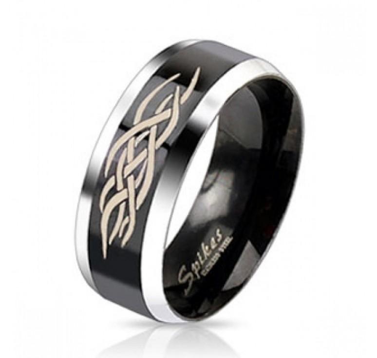 Мужское кольцо из стали цвет платина и черный с узором