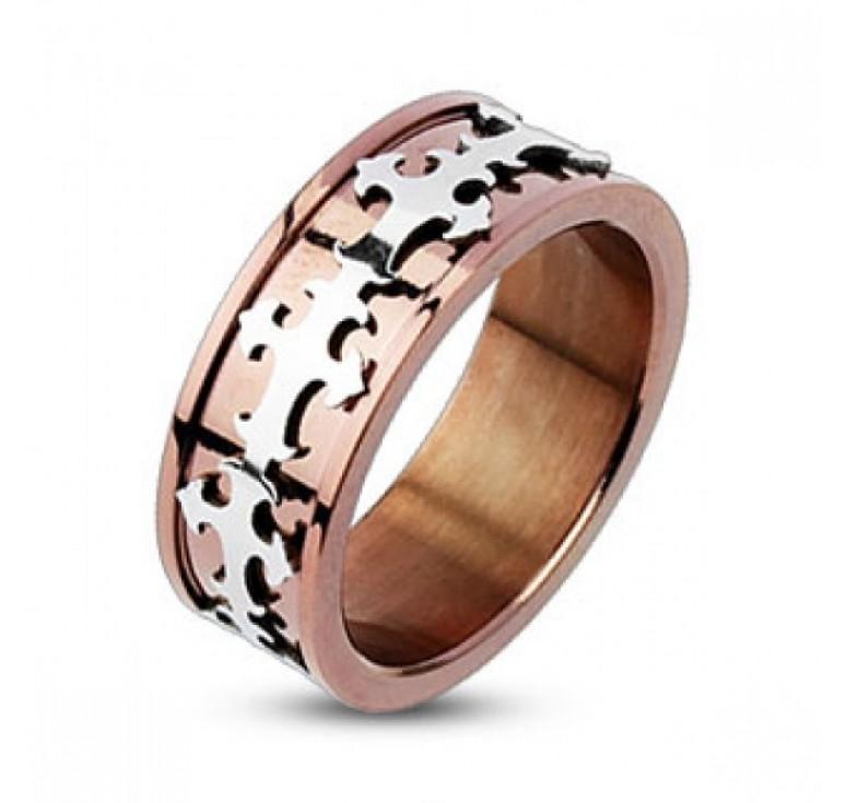 Мужское кольцо из стали цвет медь с узором кресты цвет платина