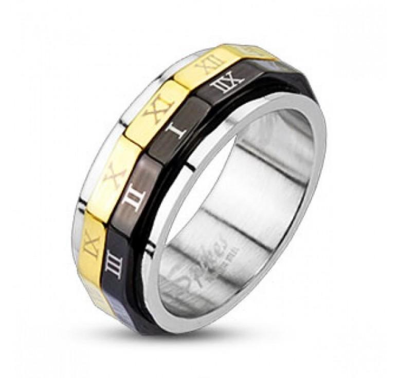 Мужское кольцо из стали цвет платина с вращающимися осями цвет золото и черный. Надписи на осях арабские цифры