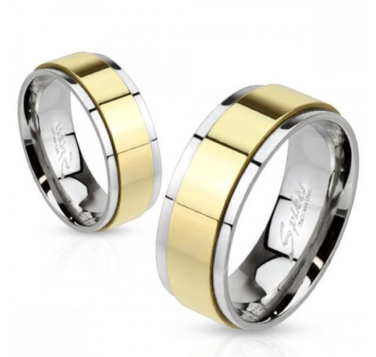 Мужское кольцо из стали цвет платина с вращающейся центральной частью цвет золото. Могут использоваться как парные кольца