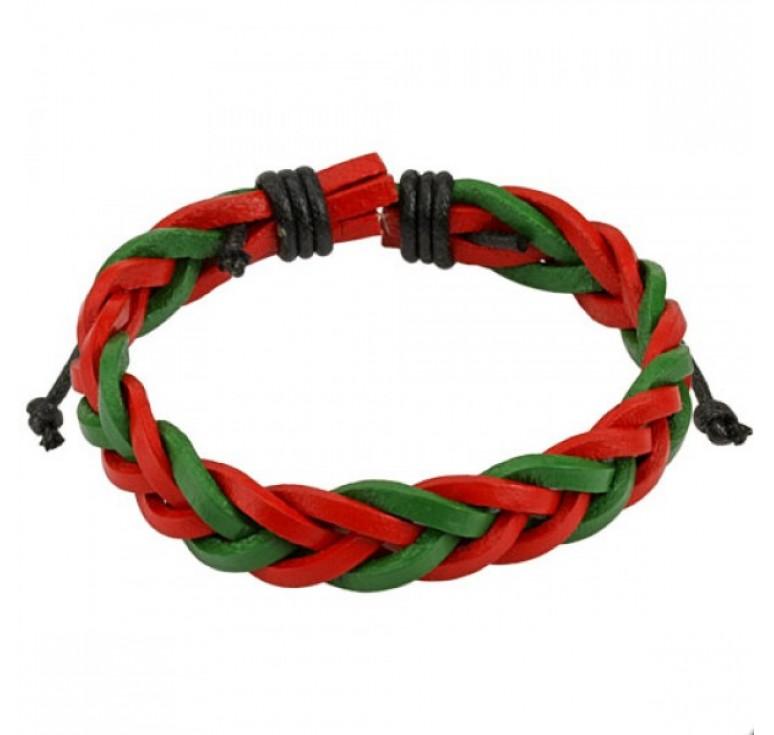 Мужской кожаный плетеный браслет цвет красный и зленый. Длина регулируется