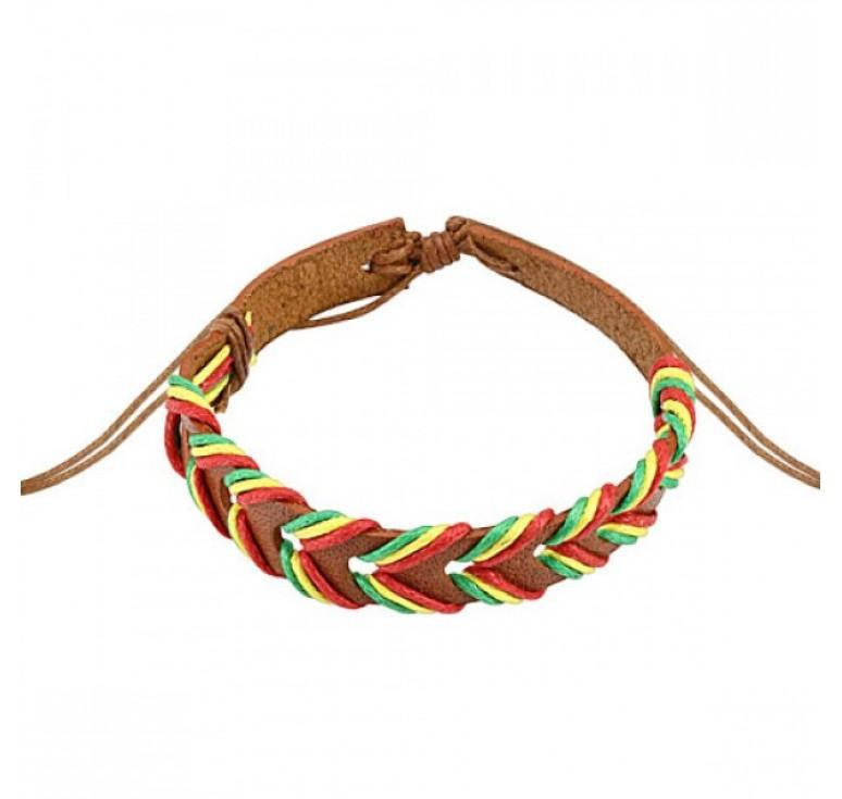 Мужской плетеный браслет из коричневой кожи в виде косички