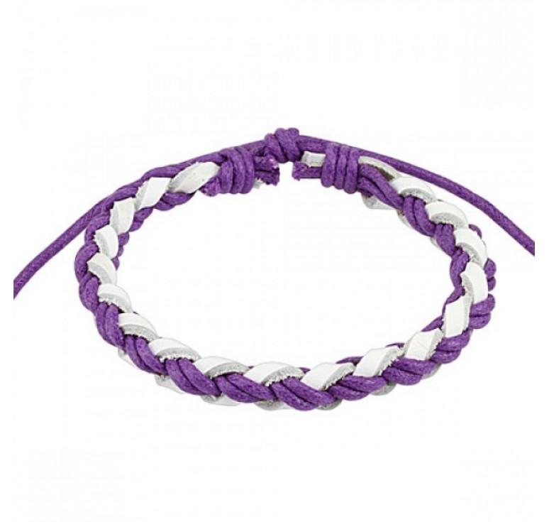 Мужской плетеный браслет из кожи, цвет белый фиолетовый. Размер регулируется.