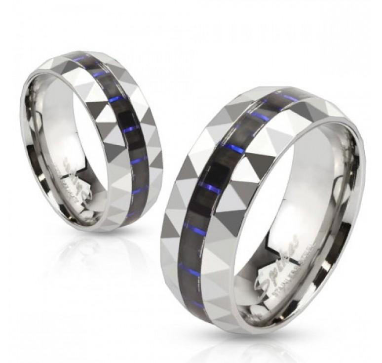 Мужское кольцо из стали цвет платина со вставками из карбона цвет синий. Могу быть использованы как парные кольца