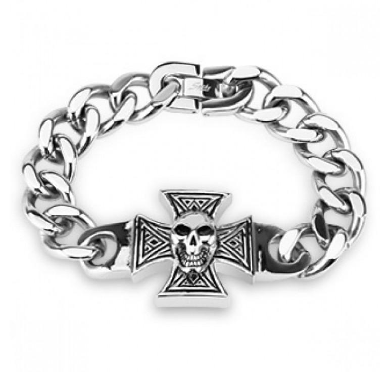 Мужской браслет из стали цвет платина с крупными звеньями со вставкой в виде креста с черепом