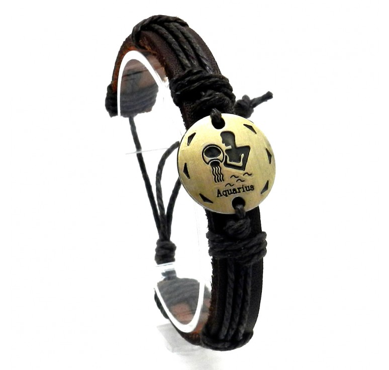 Мужской кожаный плетеный браслет со вставкой со знаком зодиака Водолей. Размер регулируется цвет коричневый