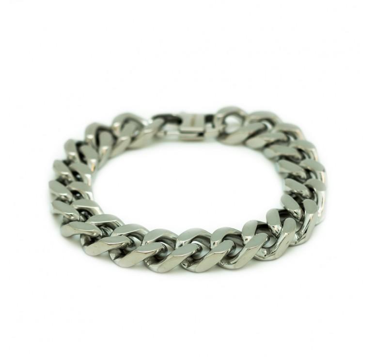 Мужской браслет из стали серебряного цвета