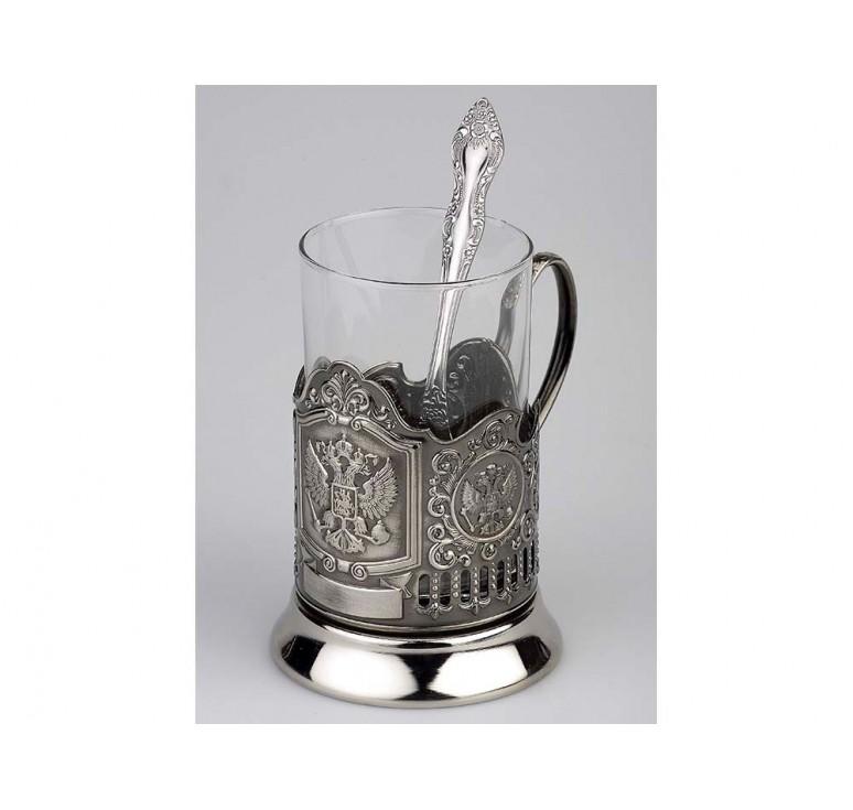 VIP Набор «Герб России»: стакан с подстаканником и ложкой