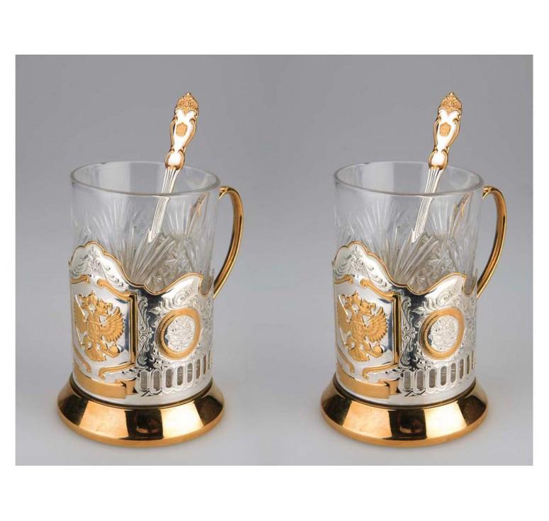 VIP Набор «Герб России»: 2 стакана с подстаканниками