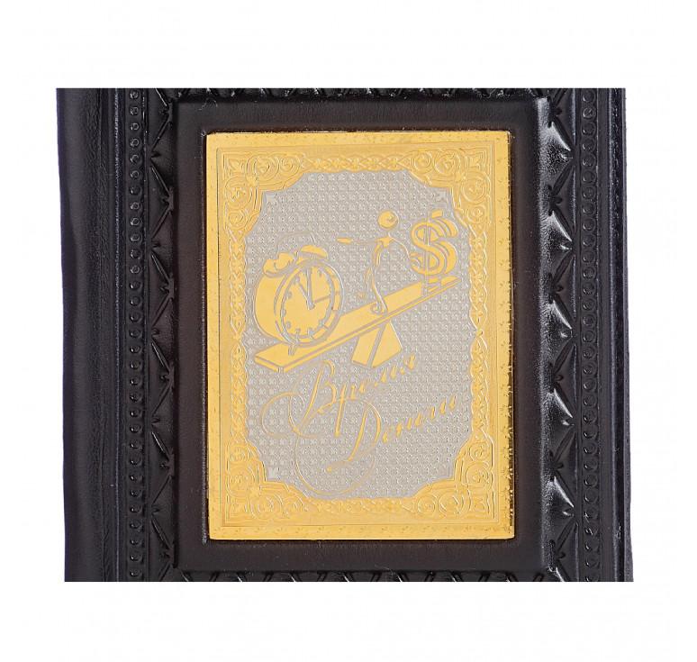 Обложка для паспорта «Время-деньги-4» с накладкой покрытой золотом 999 пробы