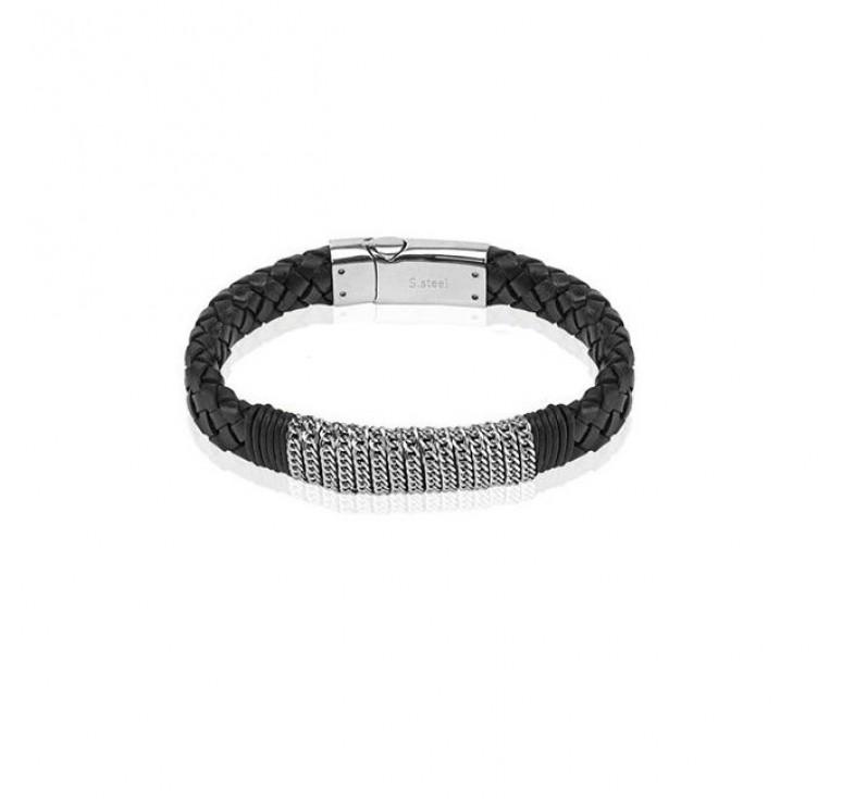 Мужской кожаный плетеный браслет  со стальными деталями