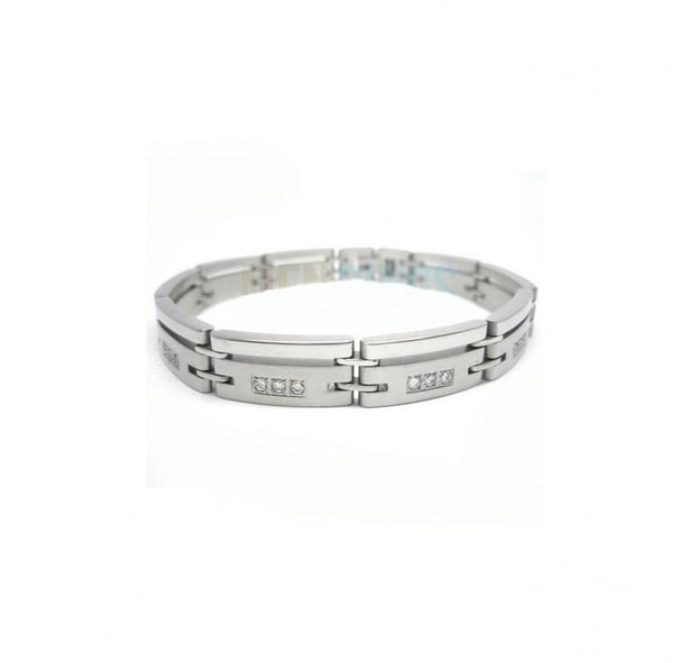 Мужской браслет с цирконием из ювелирной стали