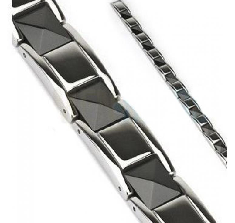Мужской браслет из стали и черной керамики