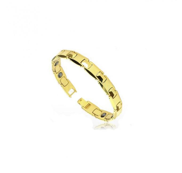 Золотистый полированный мужской браслет из карбида вольфрама