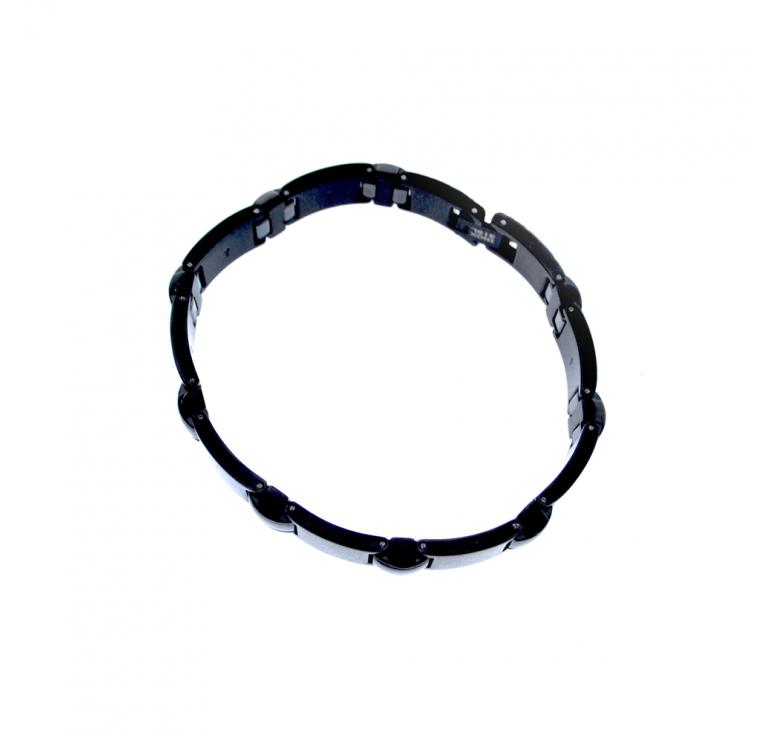 Подарок для молодого человека - черный браслет из стали и керамики