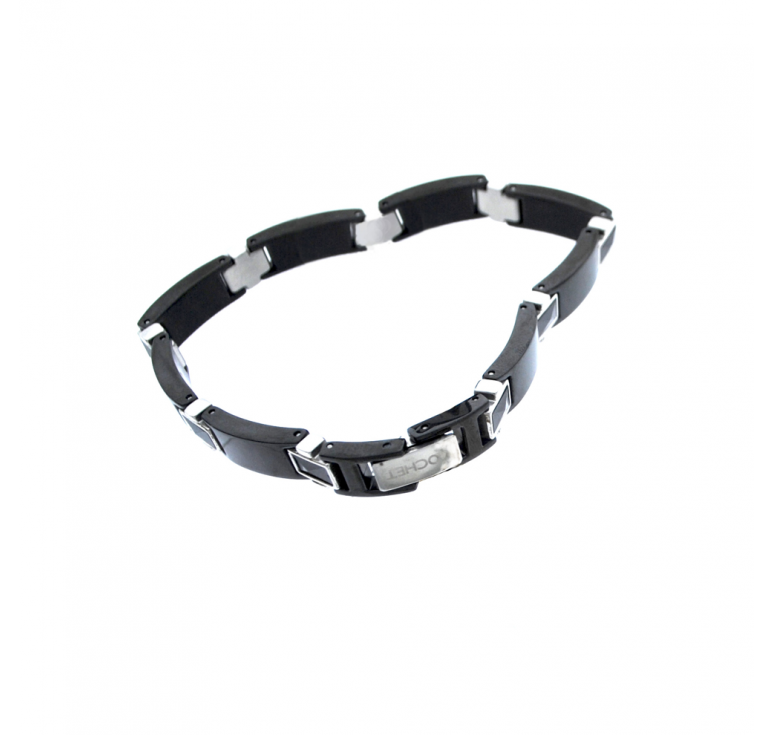 Мужской браслет из ювелирной стали и керамики