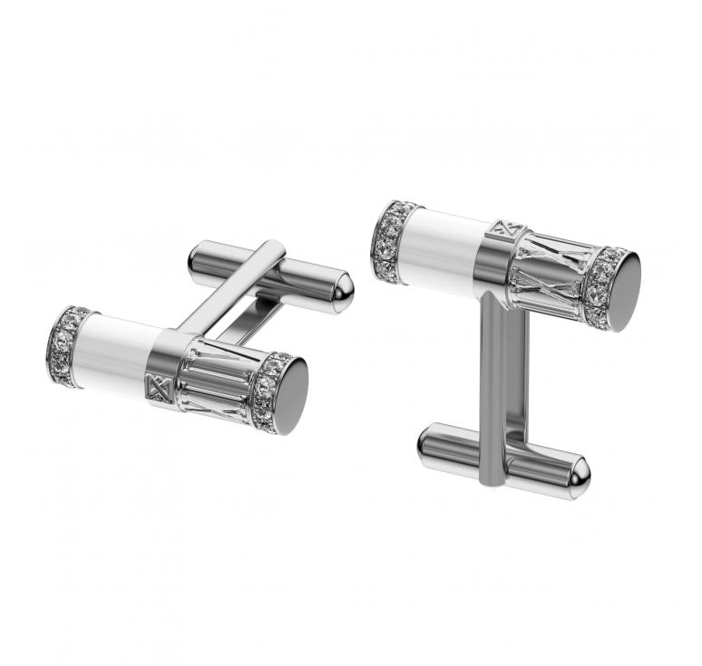 Запонки мужские серебряные с ониксом и фианитами