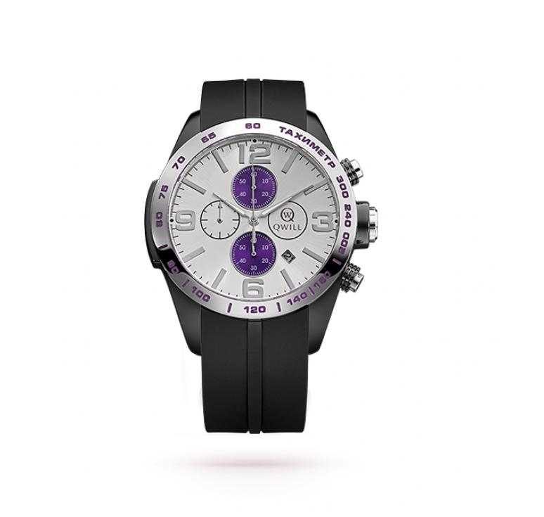 Часы - хронограф с каучуковым ремешком и серебром