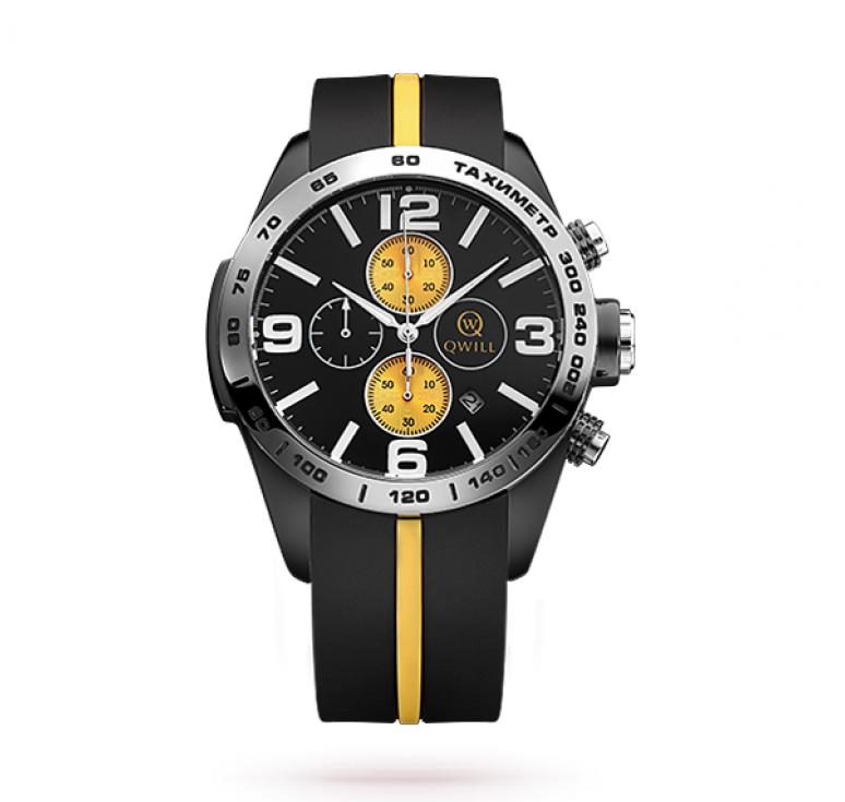 Часы мужские sport с желтой полоской на ремешке