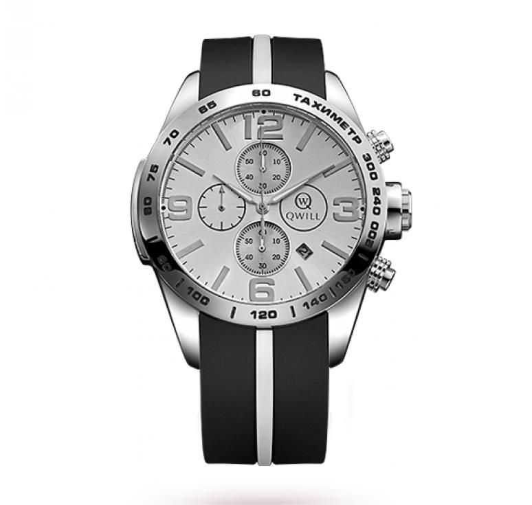 Часы QWiLL - подарочные часы с серебряными элементами и каучуковым ремешком