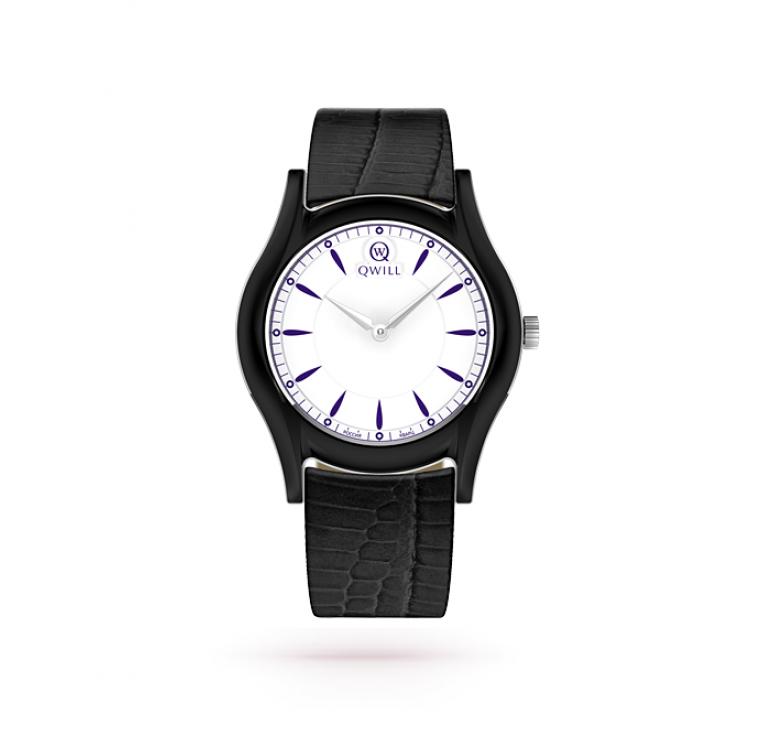 Часы женские черные с белым циферблатом, серебро + керамика + кожа