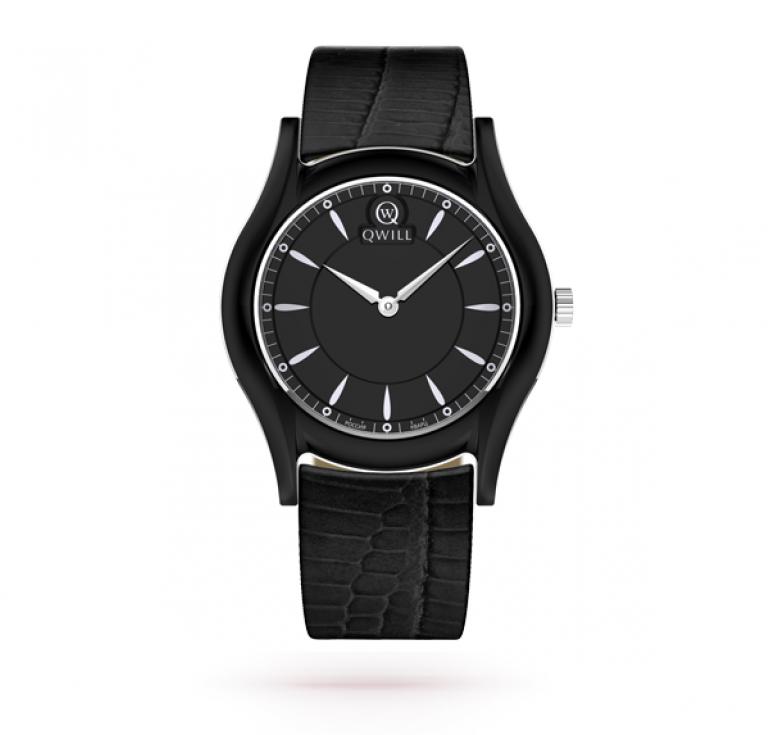 Полностью черные женские серебряные часы из керамики и серебра