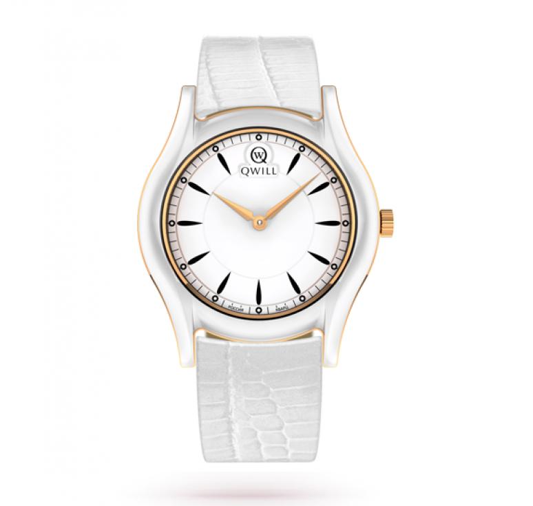 Qwill часы женские золото + керамика