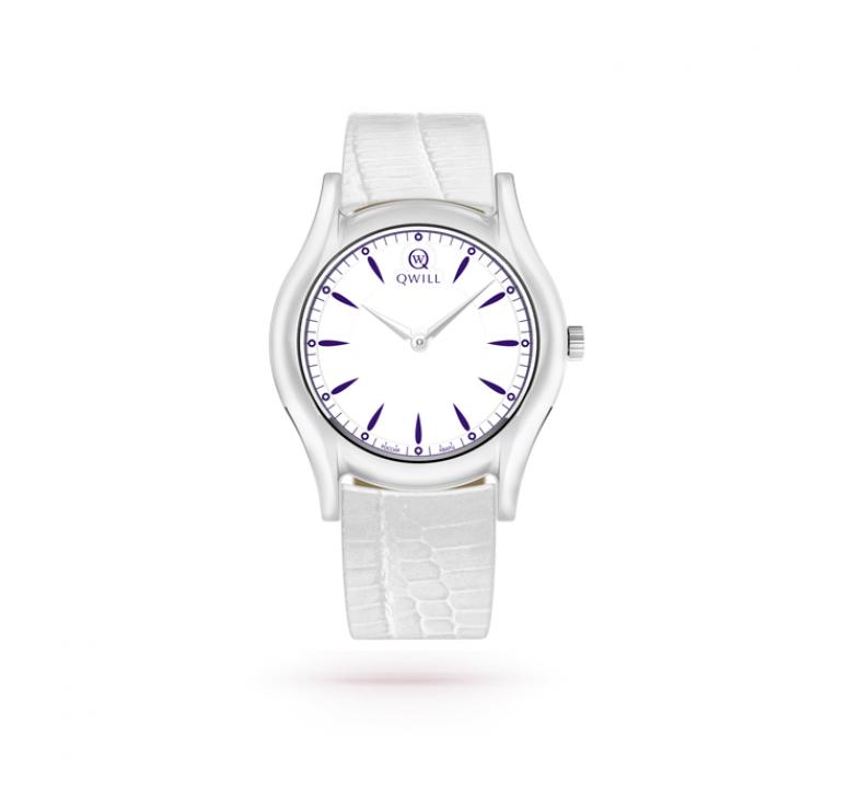 Женские белые часы серебро