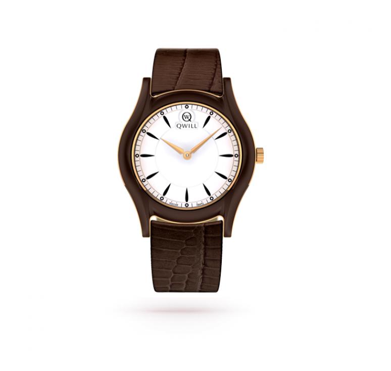 Золотые женские часы с коричневым кожаным ремешком