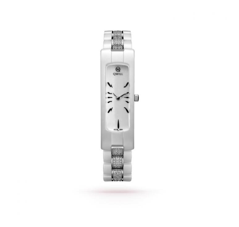 Женские белые керамические часы с серебром 925 и фианитами
