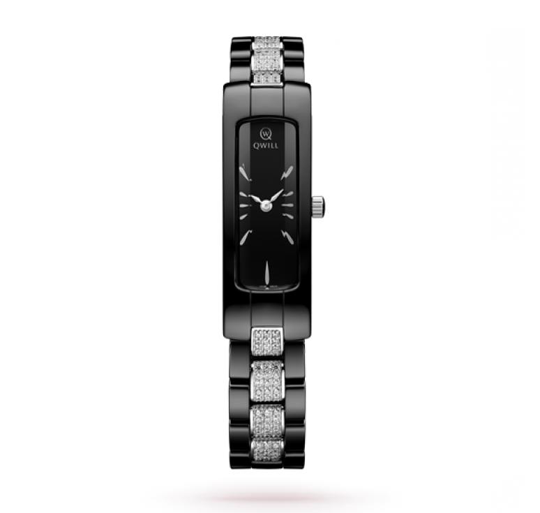 Черные керамические женские часы с серебряно-керамическим браслетом
