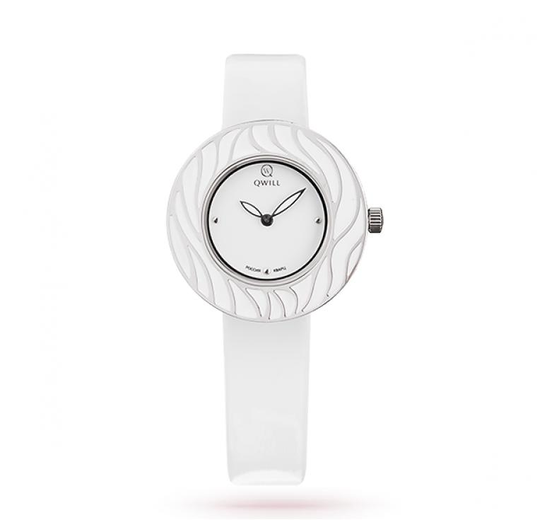 Женские белые серебряные часы qwill