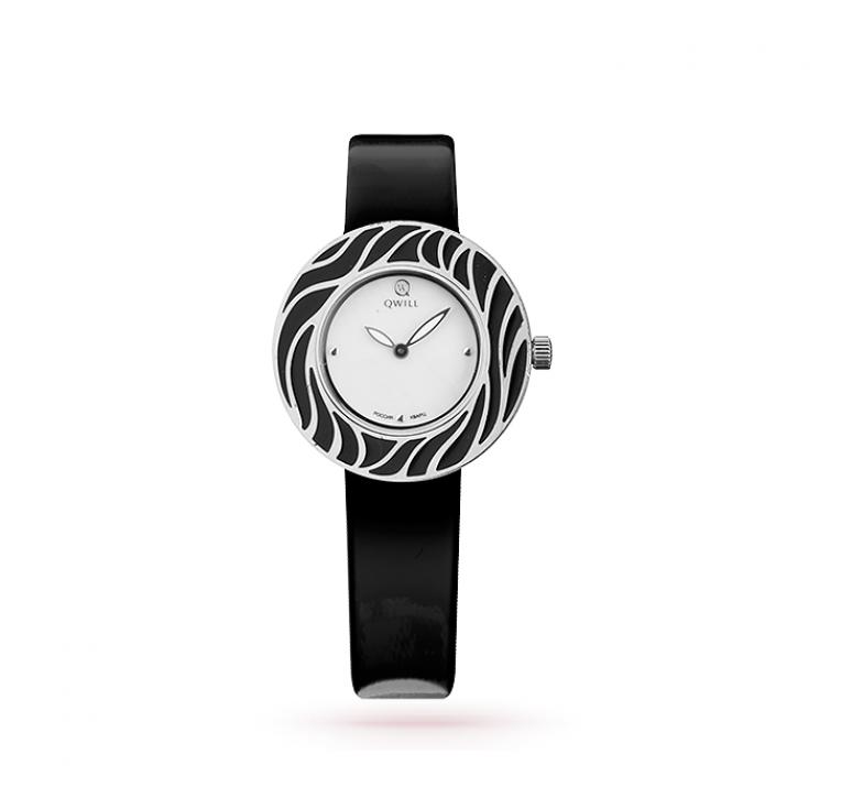 Женские черные серебряные часы qwill