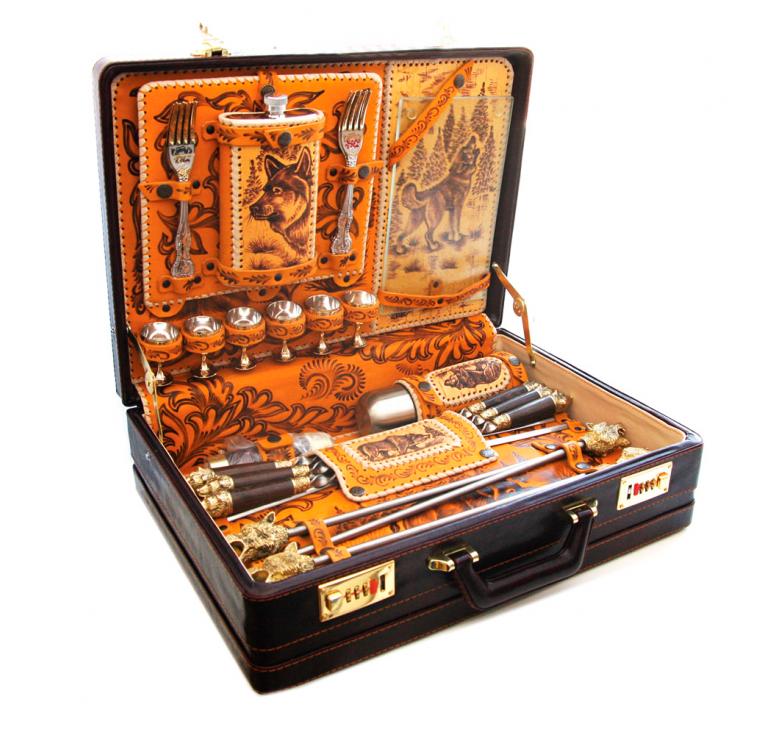 Подарочный набор ручной работы для мужчины из нескольких предметов, кожа, сталь, дерево