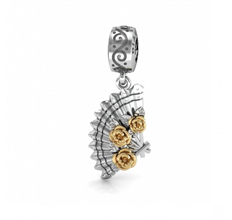 Шарм - подвеска из серебра 925 пробы - веер с золотыми розами