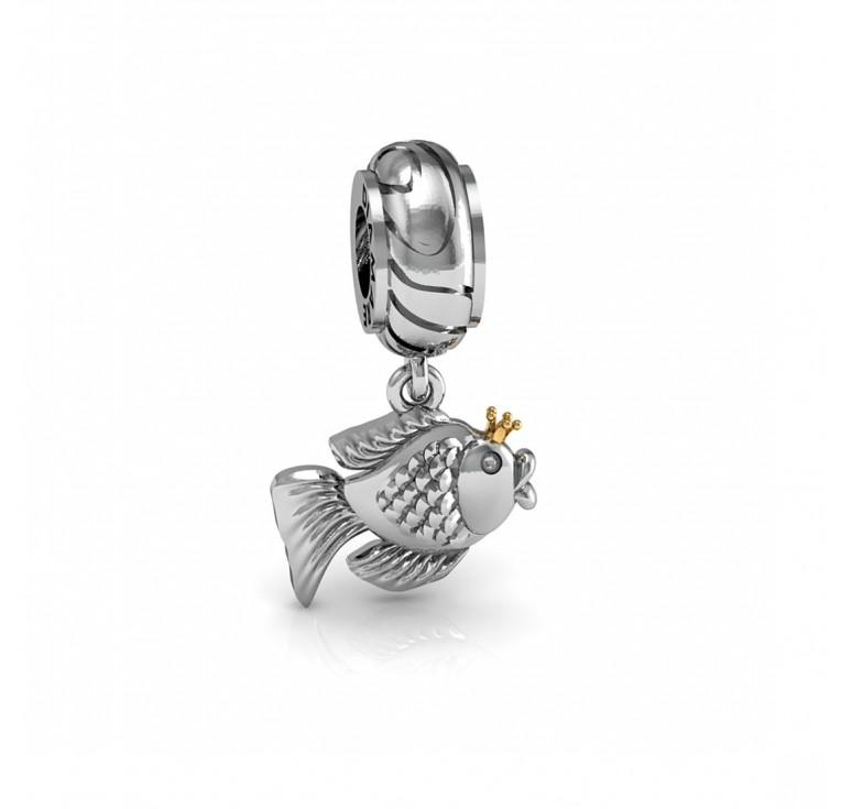 Золотая рыбка - шарм подвеска серебряная