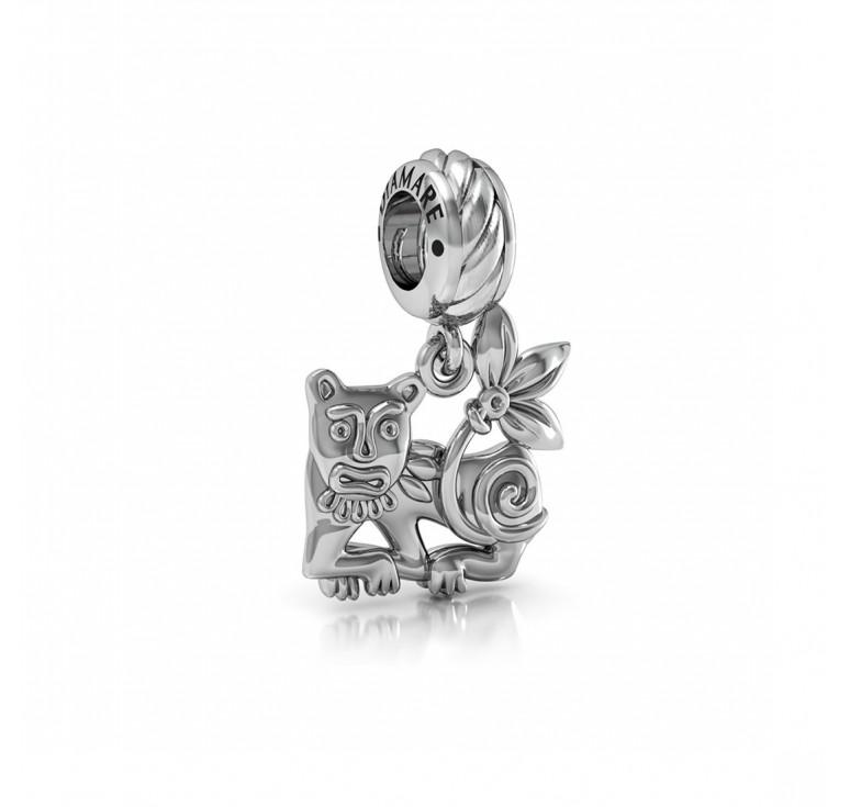 Серебряная пантера - подвеска на браслет