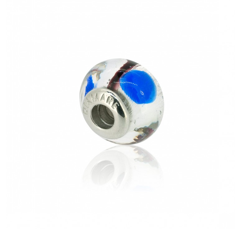 Подвеска перлина мурано аэро серебряный шарм
