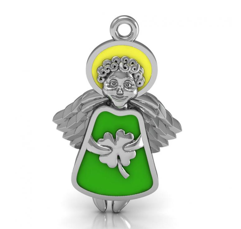 Подвеска из серебра в виде ангела с эмалью