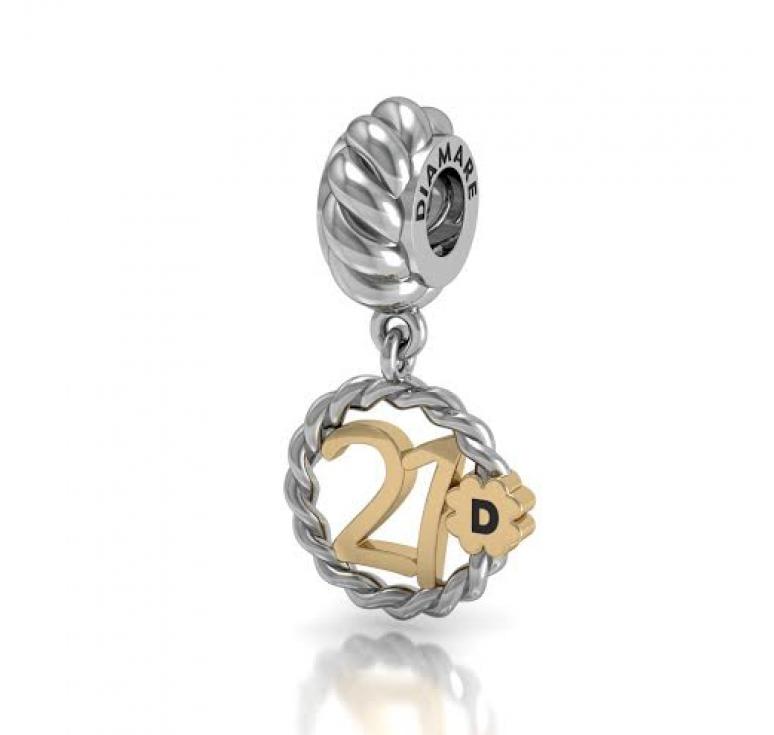 Подвеска -шарм серебряный в подарок девушке на 21 год