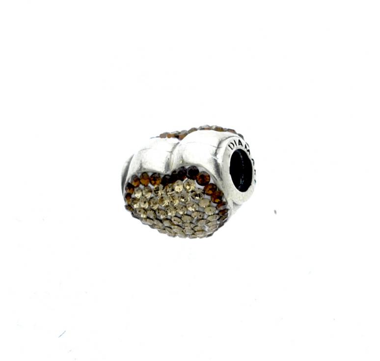 Шарм из серебра 925 пробы с кристаллами Svarovski в виде сердца