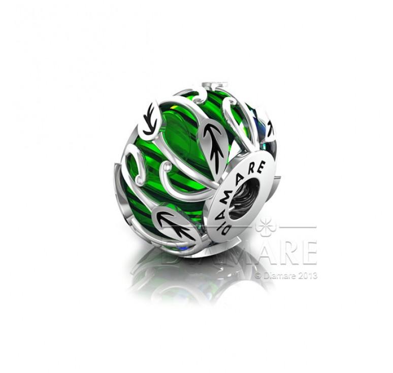 Бусина из серебра с эмалью зеленая