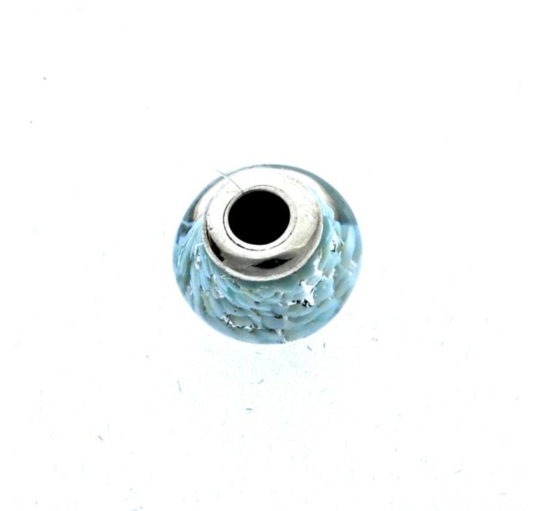 Шарм бусина в стиле пандора из муранского стекла голубая серебро 925